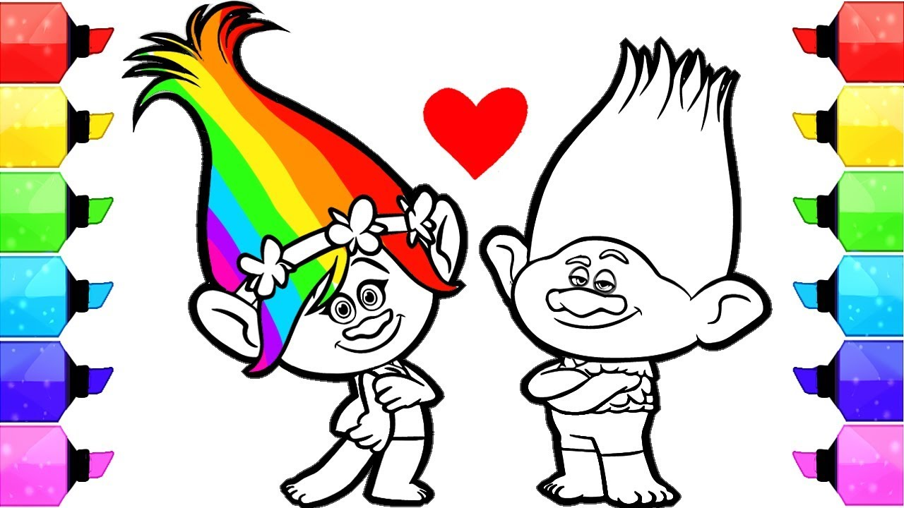 Новые раскраски к мультфильму Тролли. Мировой тур